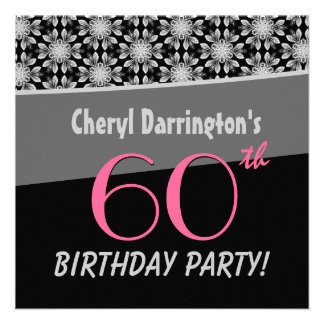 60th Birthday Party Silver and Black Floral B531 Personalized Invitation