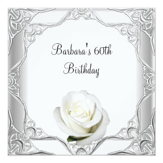 "60th Birthday Party Silver Lace White Rose 2 5.25"" Square Invitation Card"
