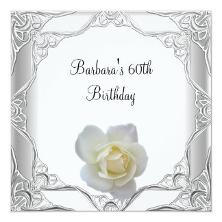 "60th Birthday Party Silver Lace White Rose 5.25"" Square Invitation Card"