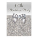 60th Birthday Party Silver Sequins, Bow & Diamond Personalized Invitation