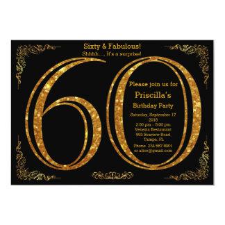 60th,Birthday party, Sixty, Gatsby, black & gold Card