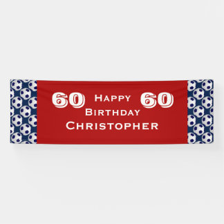60th Birthday Party Soccer Ball Banner, Adult Banner