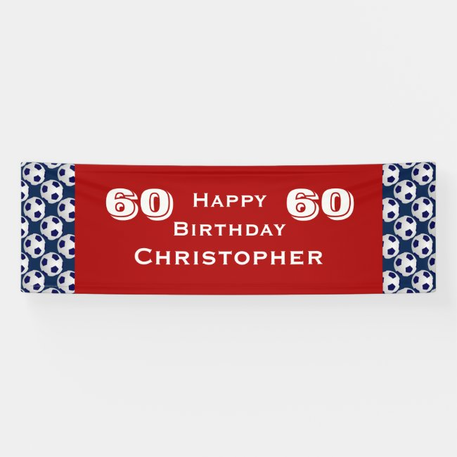 60th Birthday Party Soccer Ball Banner, Adult