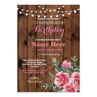 60th Birthday Party Wood Flower Floral Pink Invite