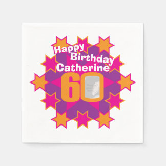 60th birthday photo and name pink star napkins
