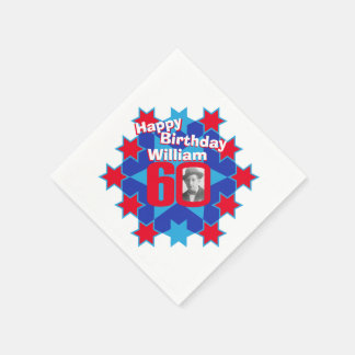 60th birthday photo and name red star napkins