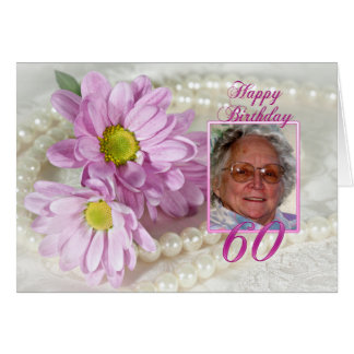 60th birthday photo card with daisies