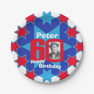 60th birthday photo name blue star paper plate