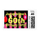 60th Birthday Pink Candles Custom Name stamp