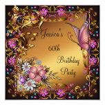 60th Birthday Pink Floral Butterfly Gold Black 5.25x5.25 Square Paper Invitation Card