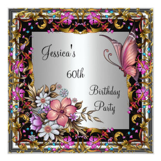 60th Birthday Pink Floral Butterfly Gold Silver Card