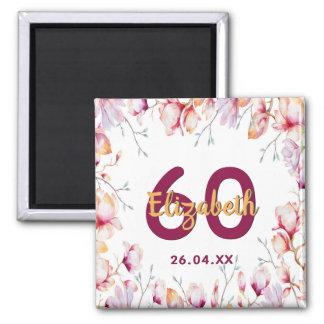 60th birthday pink magnolia flower frame on white magnet