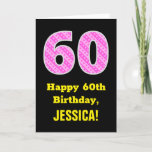 "[ Thumbnail: 60th Birthday: Pink Stripes and Hearts ""60"" + Name Card ]"