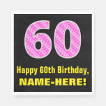 "[ Thumbnail: 60th Birthday: Pink Stripes and Hearts ""60"" + Name Napkins ]"