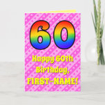 [ Thumbnail: 60th Birthday: Pink Stripes & Hearts, Rainbow # 60 Card ]
