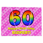 [ Thumbnail: 60th Birthday: Pink Stripes & Hearts, Rainbow # 60 Gift Bag ]