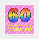 [ Thumbnail: 60th Birthday: Pink Stripes & Hearts, Rainbow # 60 Napkins ]