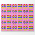 [ Thumbnail: 60th Birthday: Pink Stripes & Hearts, Rainbow # 60 Wrapping Paper ]
