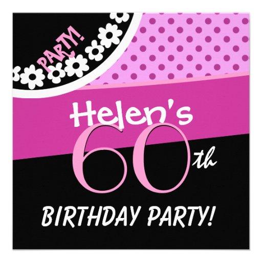 60th Birthday Pink White Black Polka Dots W316C Invites