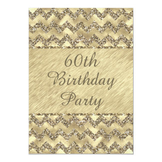 60th Birthday Platinum Glitter Chevrons Card