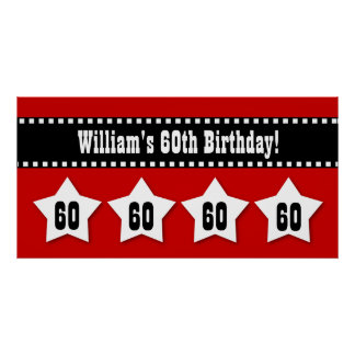 60th Birthday Red Black White Stars Banner V60S Poster