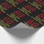"""[ Thumbnail: 60th Birthday: Red Digital Clock Style """"60"""" + Name Wrapping Paper ]"""