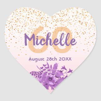 60th birthday rose gold with confetti and flowers heart sticker