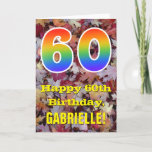 "[ Thumbnail: 60th Birthday; Rustic Autumn Leaves; Rainbow ""60"" Card ]"