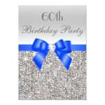 60th Birthday Silver Sequin Royal Blue Bow Diamond 5x7 Paper Invitation Card