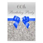 60th Birthday Silver Sequin Royal Blue Bow Diamond Card