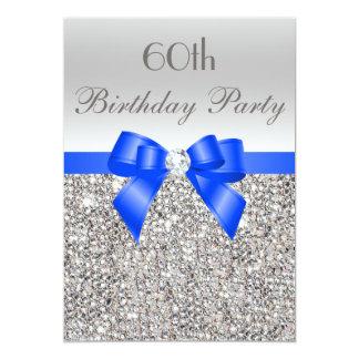 60th Birthday Silver Sequin Royal Blue Bow Diamond 5x7 Paper Invitation Card
