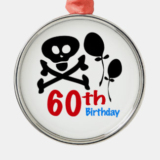 60th Birthday Skull Crossbones Metal Ornament