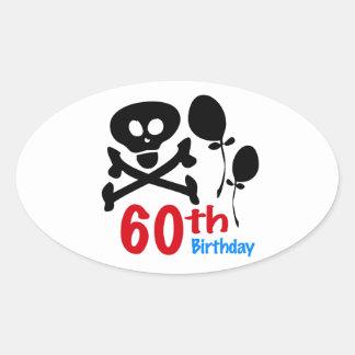 60th Birthday Skull Crossbones Oval Sticker