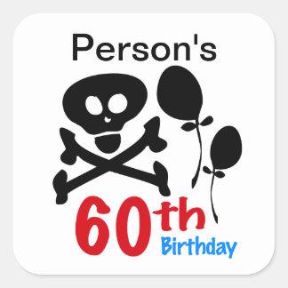 60th Birthday Skull Crossbones Square Stickers