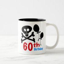 60th Birthday Skull Crossbones Two-Tone Coffee Mug
