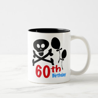 60th Birthday Skull Crossbones Two-Tone Coffee Mug