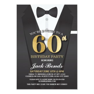 60th Birthday Spy Suit Black tie Gold Invitation
