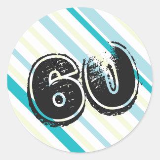 60th Birthday Stickers - Green Blue 60 year Bday