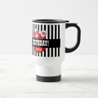 60th Birthday Stripes and Balloons BLACK RED A14A Travel Mug