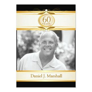 60th Birthday Surpise Party - Black Gold Monogram 5x7 Paper Invitation Card