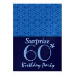 60th Birthday Surprise Party Blue Stars Metallic Invitation