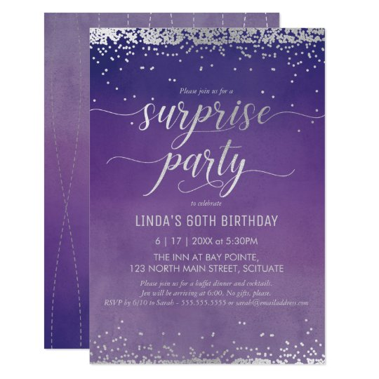 60th birthday surprise party invitation elegant zazzle com
