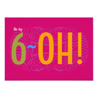 60th Birthday - the Big 6-OH! 5x7 Paper Invitation Card