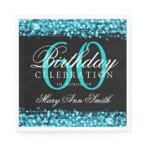 60th Birthday Turquoise Bokeh Sparkle Lights Paper Napkin