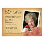 60th Birthday Vintage Daisy Photo Invitations Custom Announcement