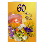 60th Birthday Wishes Card - freesias and candle