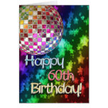 60th birthday with disco ball and rainbow of stars cards