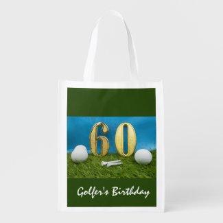 60th Birthday with golf ball and tee on green Grocery Bag