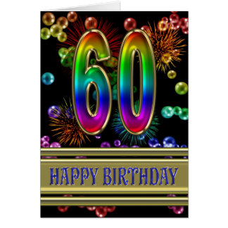 60th Birthday with rainbow bubbles and fireworks Greeting Card
