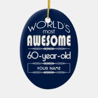 60th Birthday Worlds Best Fabulous Dark Blue Ceramic Ornament